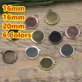 16mm, 18mm, 20mm 100 unids de Bronce/Plata/Oro/Negro En Blanco Colgante de Dos percha Bandejas Bases Cameo Cabochon para el Vidrio/Pegatinas