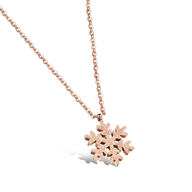 Stainless Steel Womans Snowflake Collarbone Necklaces Rose Gold