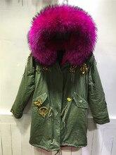 Indian Beading rose pink raccoon fur collar parkas ladies winter coat hooded lengthy jacket