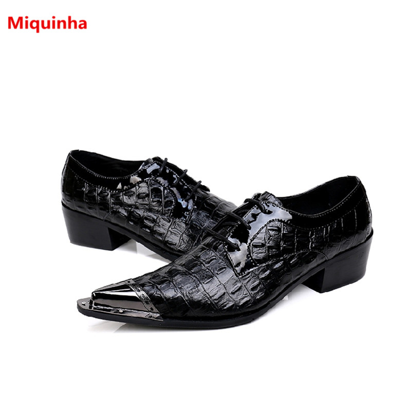 Miquinha Breathable Black Pointed Toe Cross-tied Pleated Iron Protection Head Men Casual Shoes Dress Party Genuine Leather Shoes 1pc 28cm cartoon simulation 3d cat