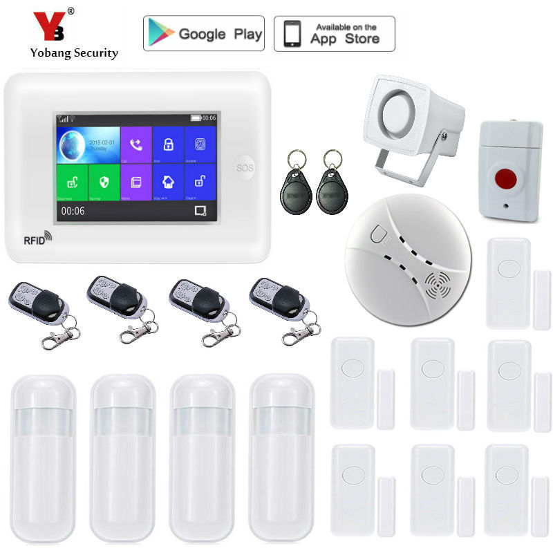 все цены на Yobang Security Wireless WiFi GSM Alarm System APP Control Touch Screen Home Security Fire Smoke Alarm System with Video IP came онлайн