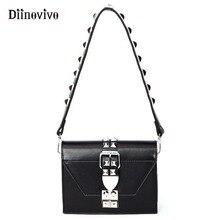 DIINOVIVO модная роскошная женская сумка в стиле панк с заклепками, металлическая сумка на плечо, дизайнерская женская сумка, маленькие черные сумки, сумка-мессенджер WHDV0920