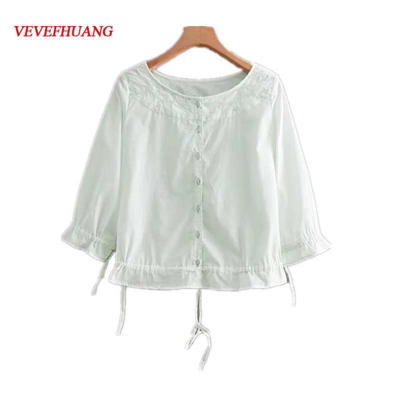 Women Solid Color Cute Short Shirt O-neck Single-Breasted Trumpet Sleeve Hem European American Style Fashion Summer Loose Blouse