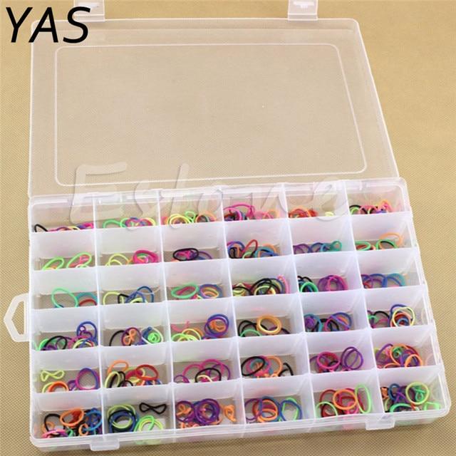 36 Grids Plastic Storage Box Adjustable Jewelry Tool Box Beads Pills ...