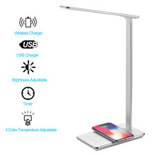 LIHUACHEN LED Desk Lamp Wireless Charger Smart LED Home Office Table Lamp Adjustable Color Temperature for iPhone X Galaxy S9 S8(China)