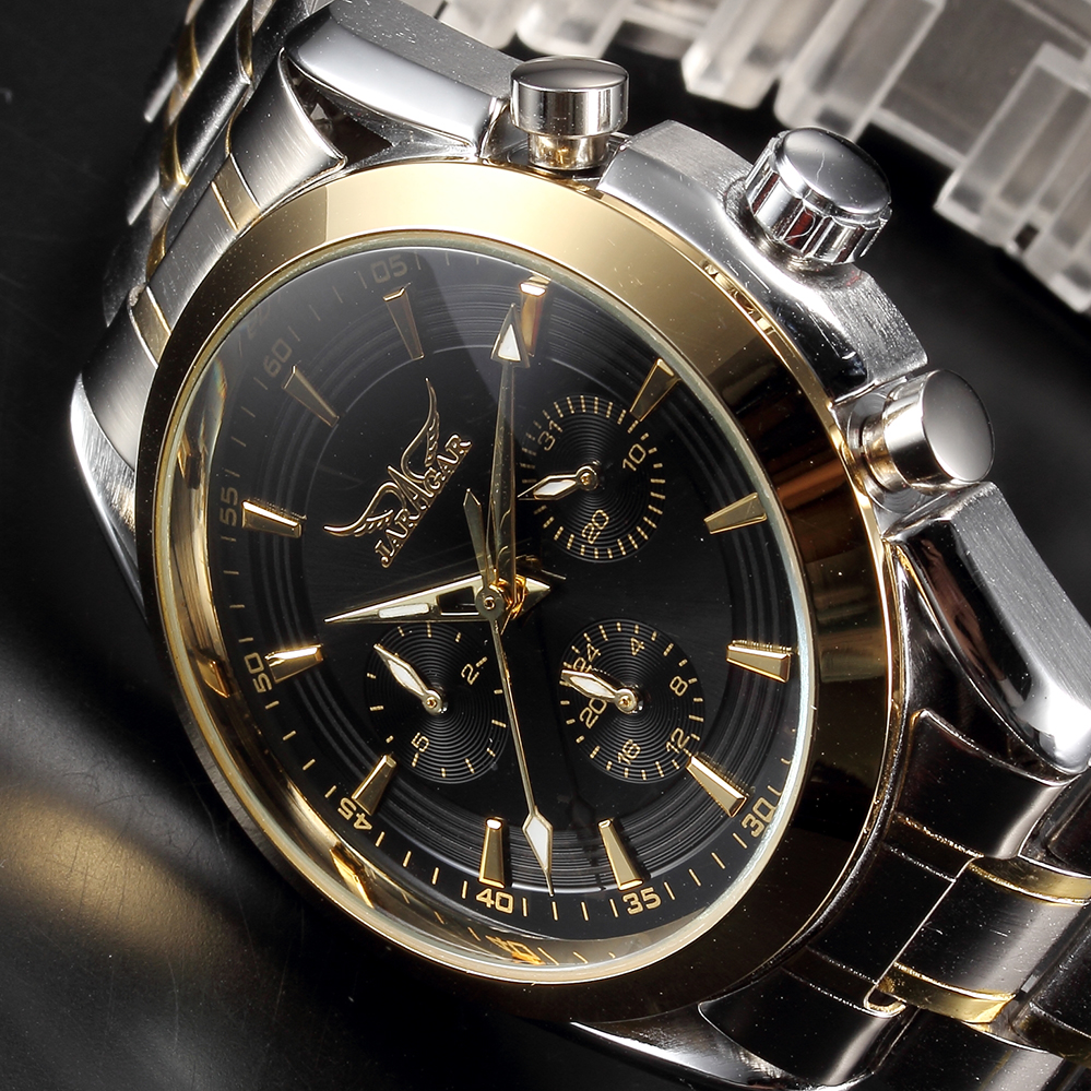 JARAGAR Male Dress Watches Auto Date Day Relojes Hombre Stainless Steel Band Men's Golden Clock Mechanical Wrsitwatches jaragar 6 hand day date stainless steel band automatic mechanical male wristwatch mens clock reloj hombre