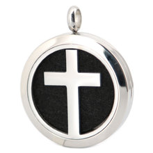 Silver Jewelry  Classic Cross Stainless Steel pendant Premium Aromatherapy Essential Oil Diffuser Necklace locket