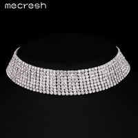 Mecresh Classic 8 Row Crystal Bridal Choker Necklace Silver Plated Rhinestone Colar Wedding Jewelry Mother S