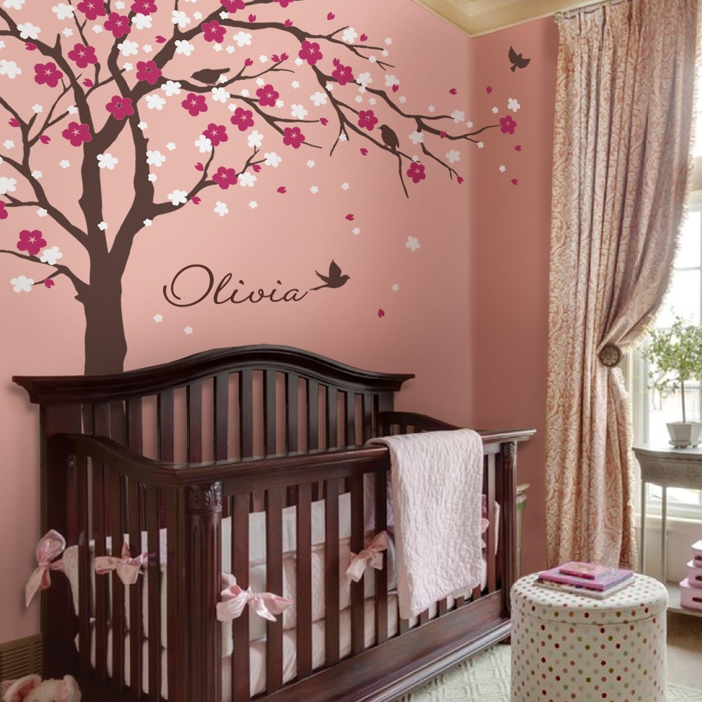Modern Cherry Blossom Vinyl Wall Stickers Tree With Flowers Wall Art Decals Kids Baby Room Nursery