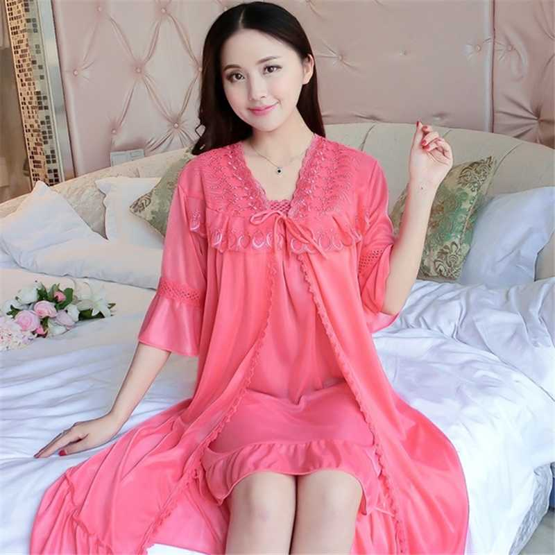 Ladies Nightdress New Summer Thin Ice Silk Two-piece Home Service Sexy Strap Mini Dress Short-sleeved Robe Sets Female Nightgown
