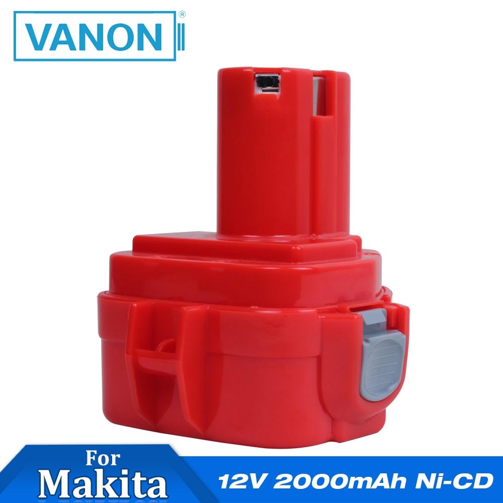 VANON For Makita 12V 2000mAh Ni-CD Rechargeable Battery Power Tools Bateria For Mak Drill PA12 1220 1222 1235 1233S 1233SB(China)