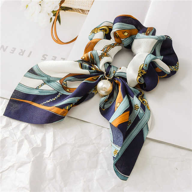 New Chiffon Bowknot Silk Hair Scrunchies Women Pearl Ponytail  4