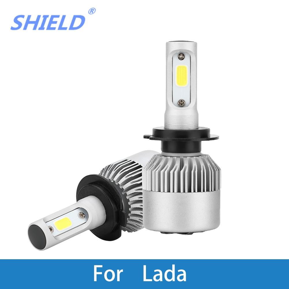 2 Pcs Car Headlight Bulb LED H4 H7 H1 H11 9005 8000Lm 6500K COB 72W 12V Auto Light For Lada Niva/Granta/Kalina/Priora/Vesta/Xray
