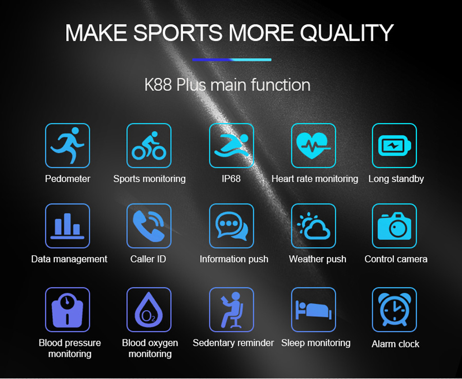 Volemer K88 plus Smart Band Blood Pressure Heart Rate Monitor Bracelet Color Display IP68 Waterproof Fitness Tracker Wristband (2)
