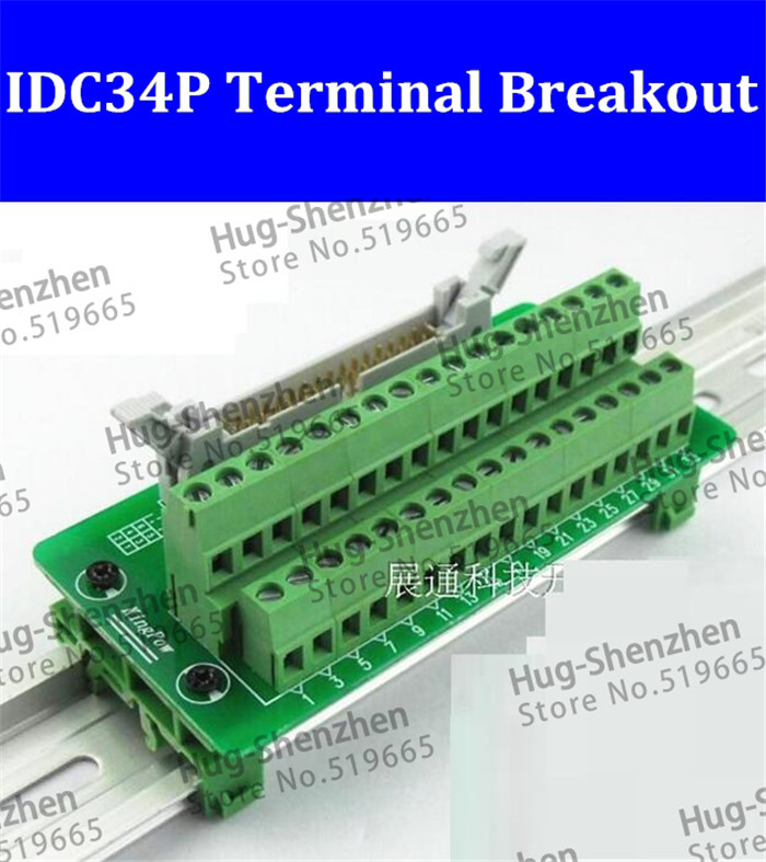 IDC34P IDC 34 Pin Male Connector to 34P Terminal Block Breakout Board Adapter PLC Relay Terminals DIN Rail Mounting--5pcs/lot 2pcs hdmi 2 0 hd adapter male connector breakout to 19p terminal board no need soldering high quality with housing shell