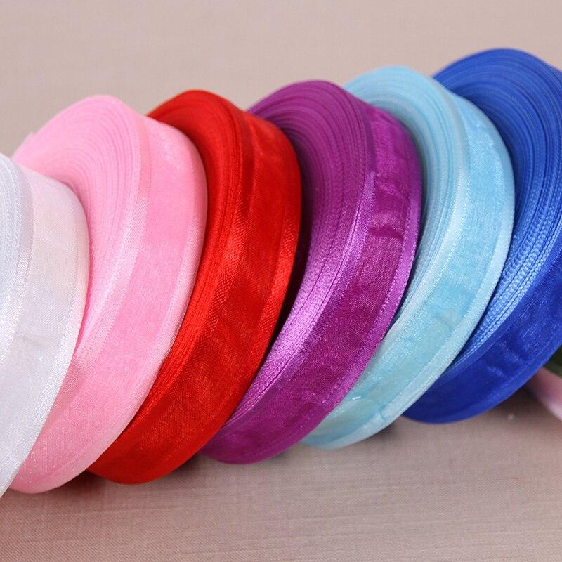 (50 ярдов/партия) 1 »(25 мм) широкая органза ленты оптовая продажа подарочная упаковка украшения ленты