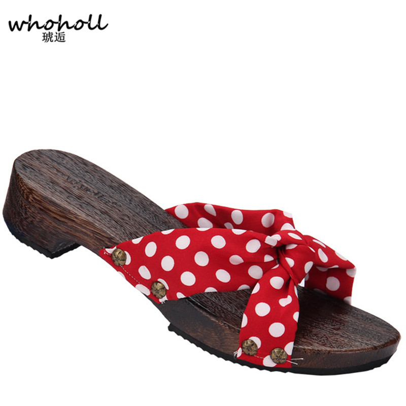 c888de5510e WHOHOLL Geta 2018 Spring Summer Japanese Geta Lady s Flat Sandals Wooden  Slippers Clogs Anti-slip