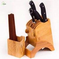 YI HONG Bamboo Kitchen Knife Holder Multifunctional Kitchen Accessories Storage Rack Tool Holder Wood Knife Stand Knife Rack 70c