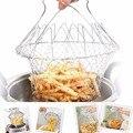 Fry Chef francés cesta plegable vapor enjuague cepa magia colador de acero inoxidable cesta neta para la cocina regalo