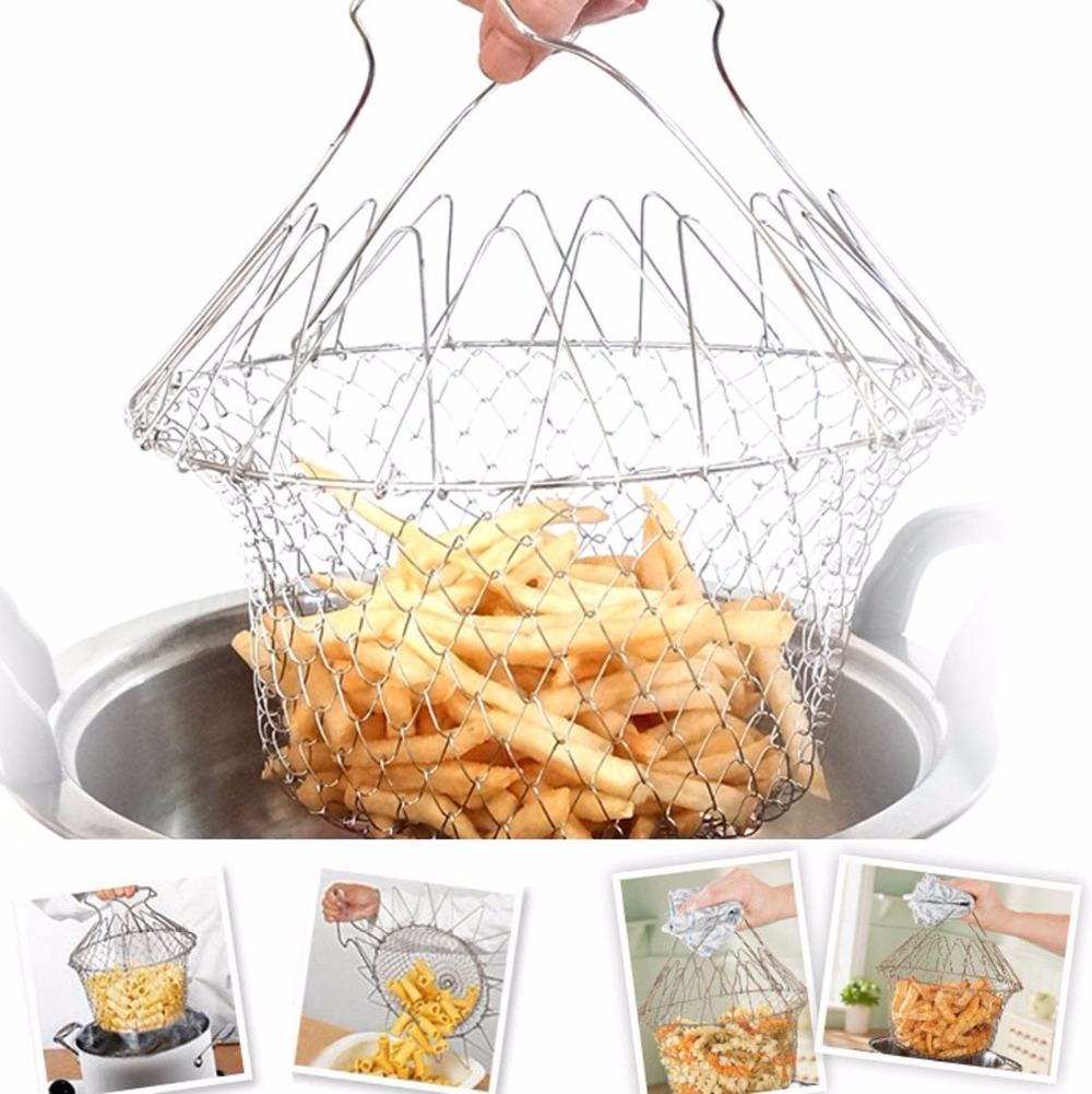 Fry French Chef Basket dilipat Steam Rinse Strain Magic Stainless Steel Strainer Net Basket untuk Dapur Cooking Gift
