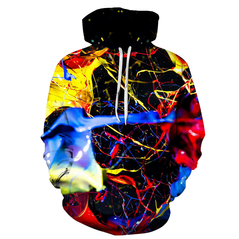 New Fashion Splashed Paint 3D Colorful Printed Hoodies Women Men Sweatshirts Unisex Hip Hop Tracksuit Thin Hooded R3590