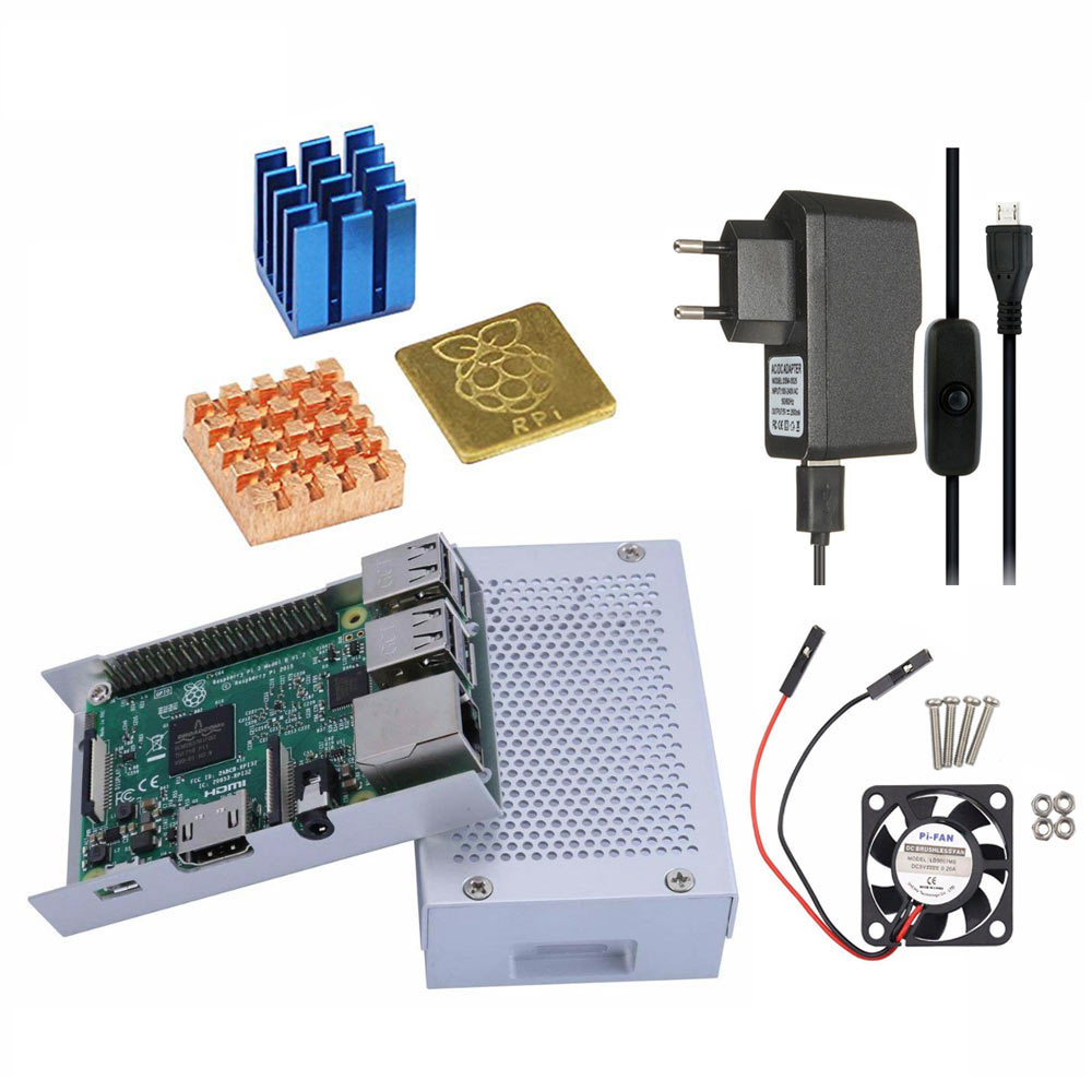 Raspberry Pi 4 Model B Aluminum Case Metal Chassis Shell Box with Onboard Cooling Fan Silver