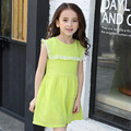 La gasa de la princesa vestidos de las muchachas niños del resorte vestido de tirantes sin mangas verde grande niñas vestido de verano de 2017 marca de ropa para niños