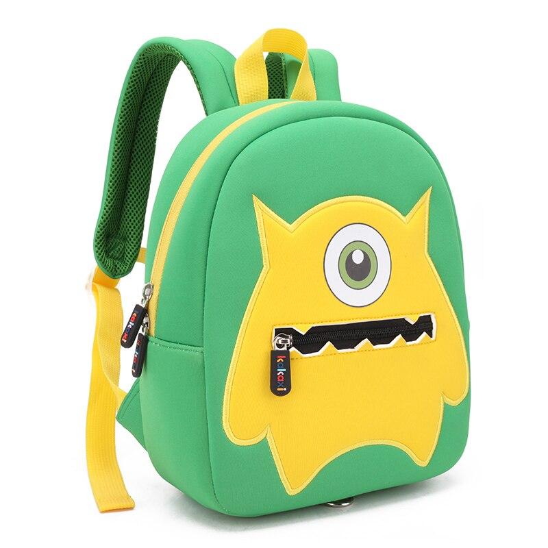 Children School Backpack Cartoon One-eyed Monster Waterproof Neoprene Fabric For Toddler Boys Kindergarten Kids School Bag