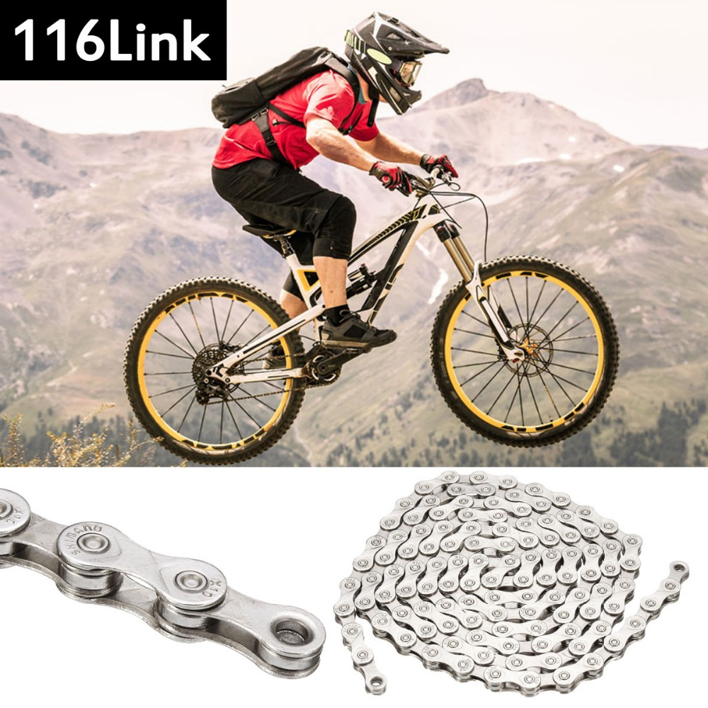 цена на New Arrival Steel 116 Link 10 Speed MTB Mountain Road Bike Chain Anti Rust Cycling Chain for BMX Fixie Fixed Gear Bicycle
