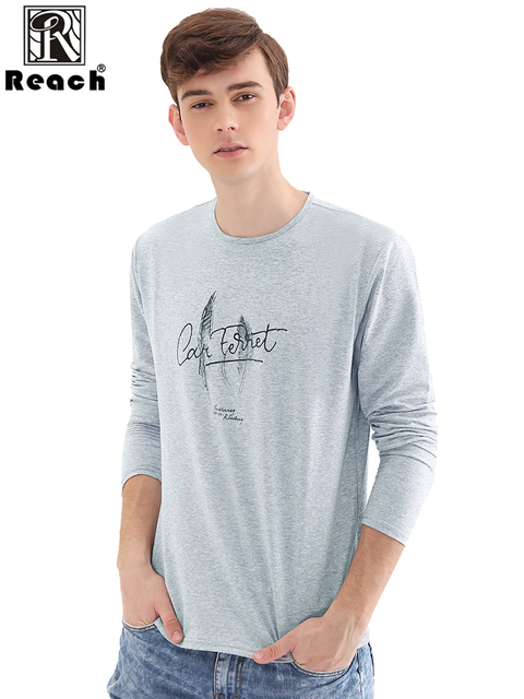 Reach Casual Men T-Shirt Cotton Spandex Full Sleeve Long Sleeve Tops For Men Camisetas Hombre Manga Larga