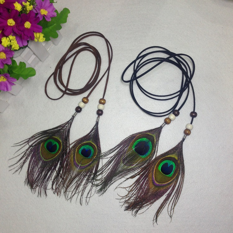2 Pcs lot Women Feather Hair Accessories 2017 Fashion Peacock Feather Head Bands