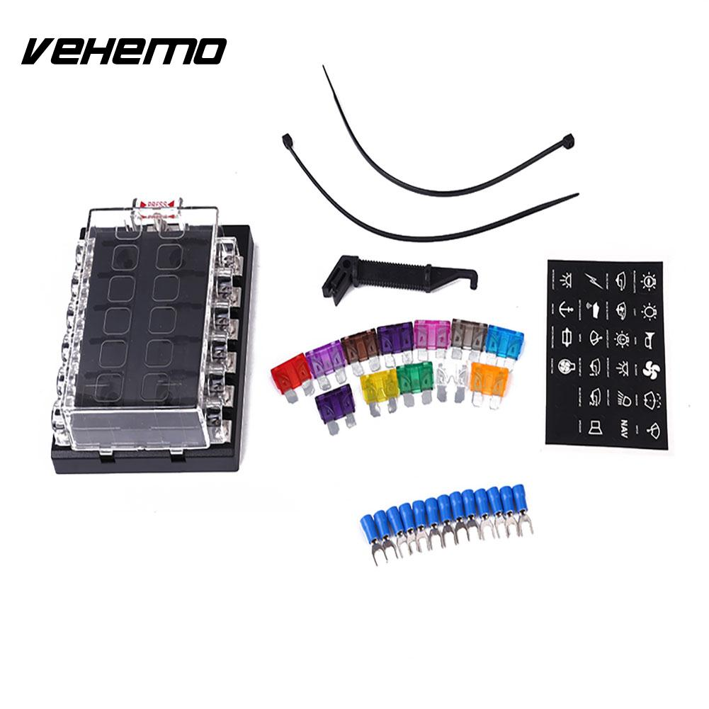 Vehemo Fuse Box Terminals Circuit Automobile Auto ATO Blade Case Safety Protection