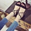 2017 sandálias de dedo aberto feminino de verão de todos os jogo botão tiras cruzadas sandálias de salto grosso sapatos da moda das mulheres