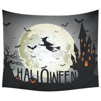 Halloween Home Decor Tapestries Wall Art Haunted Castle Pumpkin Wizard Tapestry Wall Hanging Art Sets 60