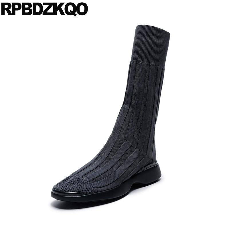 Stretch Designer Shoes Women Luxury 2017 Winter Slim Flat Short Sock Slip On Knit Mid Calf Grey Boots Celebrity Autumn Casual slip on winter boots stretch lycra