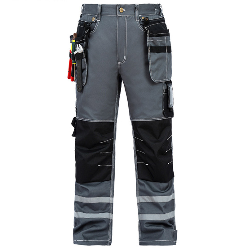 Men Working Pants Wear-resistant Multi pockets Work trousers Reflective Strap Worker Mechanic Factory Functional Cargo Pants