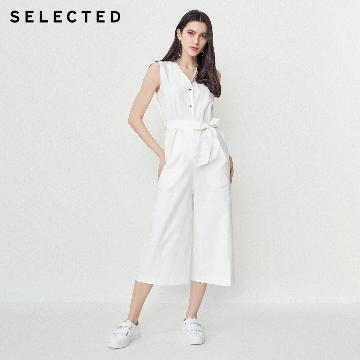 SELECTED women s new V neck sleeveless loose high waist wide leg casual pants S 418244507