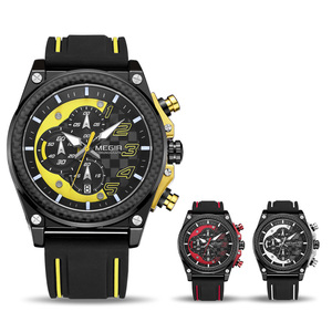 Image 3 - Creative MEGIR הכרונוגרף ספורט שעון גברים סיליקון צבא צבאי יד שעונים שעון גברים למעלה מותג יוקרה Relogio Masculino