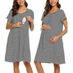 Women Mother Maternity Dress Casual Cotton stripe Breastfeeding Nursing Dress Nursing Baby For Maternity Pajamas Nightdress