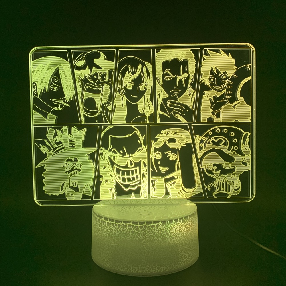 Novelty Lights Anime One Piece Character Collection Office Bedroom Home Decorative Light Boys Kids Gift 3D Led Night Light Lamp