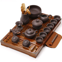 Home tea service accessories Chinese Kung Fu Tea Set Wood tray Ceramic/Purple Clay Teapot Gaiwan cups Tea Ceremony set