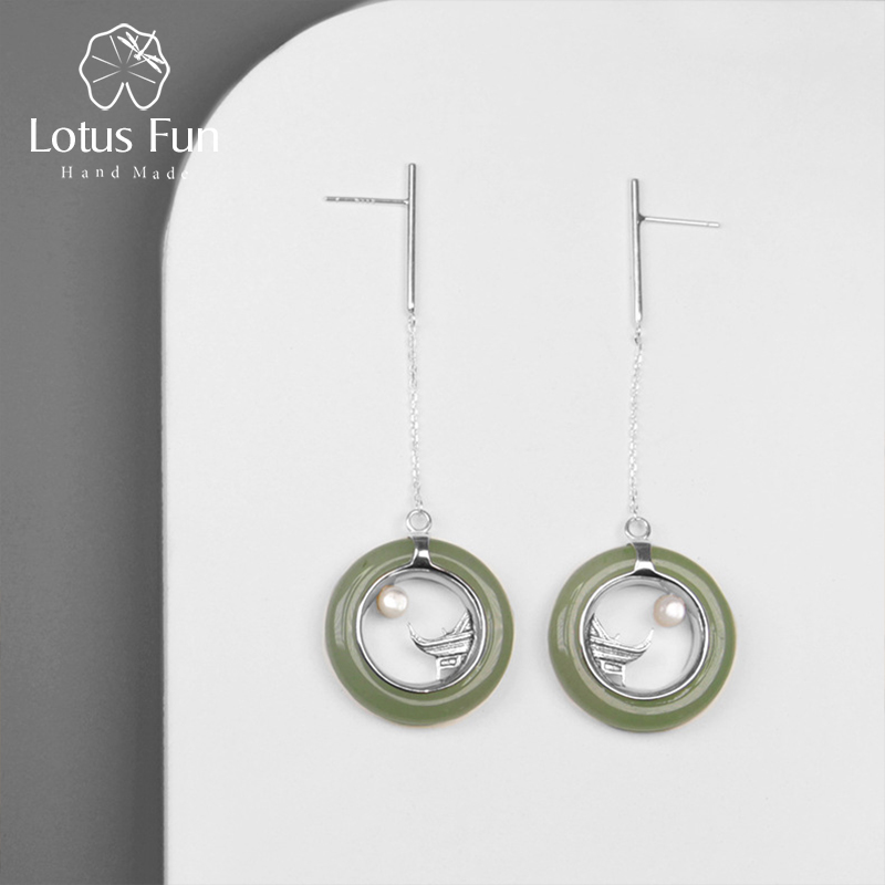 Lotus Fun Real 925 Sterling Silver Handmade Fine Jewelry Classic Oriental Element Moonlight Design Drop Earrings for WomenLotus Fun Real 925 Sterling Silver Handmade Fine Jewelry Classic Oriental Element Moonlight Design Drop Earrings for Women