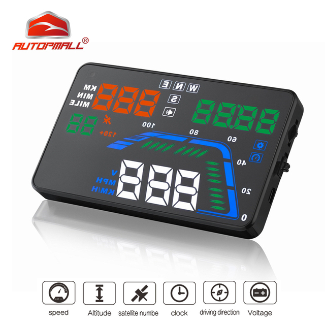 Auto Car HUD GPS Head Up Display HD 5.5 Speedometers Overspeed Warning Dashboard Windshield Projector Multi Color Car Auto HUD