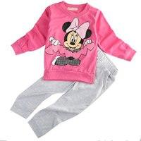 Baby Girls Cartoon Set 2016 Spring Autumn Children Sport Clothing Set 2pcs Suit T Shirt Pants