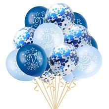 15 шт. 12 дюймов счастливый 2 лет День рождения Синий Розовый Золото Роза латексные Конфетти Для детей день рождения мультфильм шляпа подарки для детей