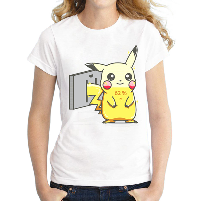 2829fb3e63029 2018 New Fashion Pokemon Go Women T Shirt Pikachu Charge Funny Cool T-shirt  Short