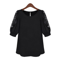 2015 Summer Loose Openwork Lace Shirt Large Size Women S T Shirt Was Thin Fifth Sleeve