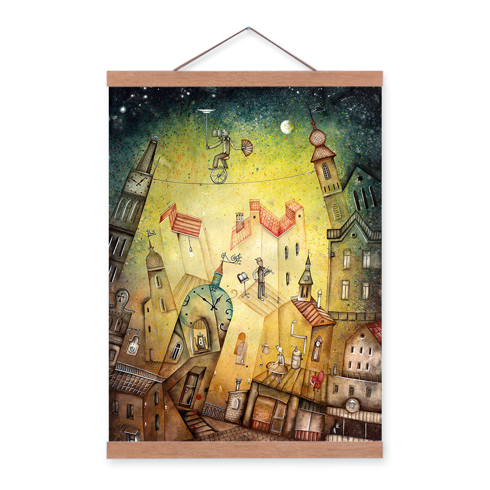 Watercolor Vintage Fantasy City Posters Prints Abstract Fairy Dream ...