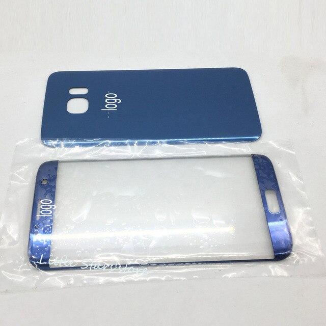 1 ШТ. Оригинал Для Samsung Galaxy S7 Edge G935 Передняя Экран Стеклянный Объектив + Заднее Стекло Крышка Батарейного Отсека-Розовый/Синий/Черный/белый/Серебристый