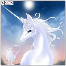 MOONCRESIN Diy Diamond Painting Cross Stitch White Unicorn Animals Mosaic Full Round Embroidery Decoration Gifts